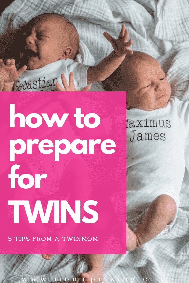 Twins! Once you get over the initial shock, your brain starts to spin at all the things you MUST do before they arrive. A real twinmom (me!) shares her top 5 tips for how to prepare for twins and the most important parts to know while pregnant with twins.