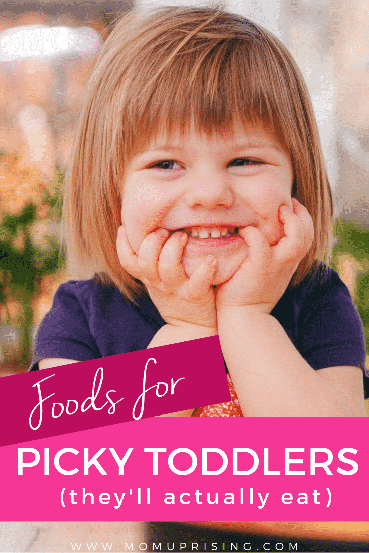 Looking to try some new foods for picky toddlers that they\'ll actually eat? Check out these three tips to get picky eaters to try new things, and also five ideas for meals for picky toddlers. It\'s so hard being a mom and just hoping those little angels will try something new when all you want is to feed them some healthy food for your toddler. These are some ingenious ways to get kids interested in food even if they are picky eaters. #momlife #motherhood #pickyeaters #toddlermom #toddlers
