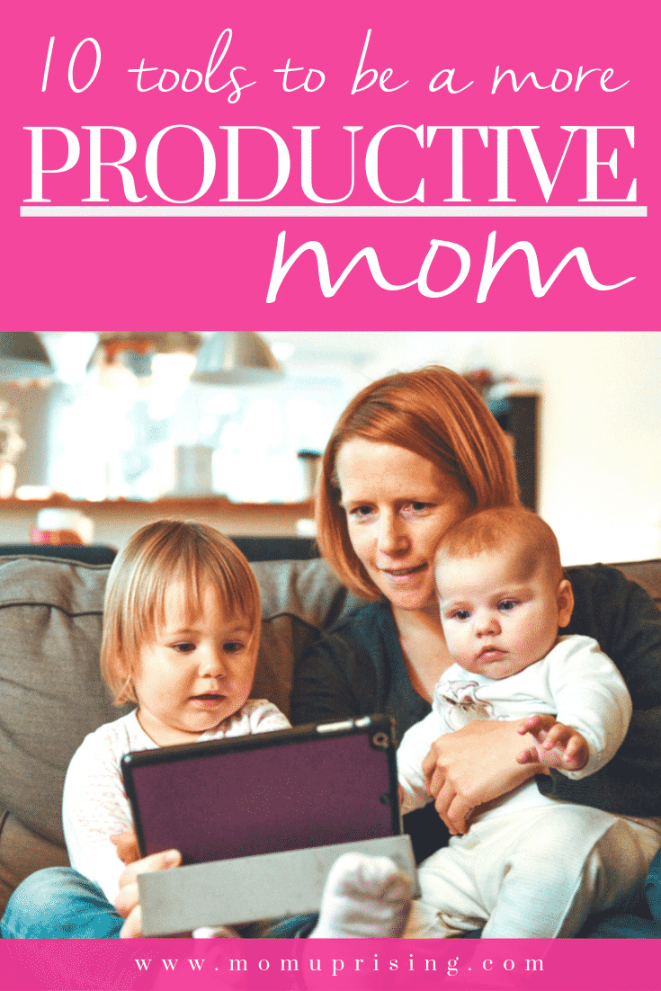 Want to be a more productive mom? We have to much to get done, and it can seem impossible to actually do all the things. But we can! We just need a few productivity hacks, time-saving tips, and corner-cutting tricks to actually get to the next level of productivity as a mom. These 10 tools will save you time and help you get focused so you can be a more productive mom. #momlife #productivity #productivemom #motherhood #mompreneur