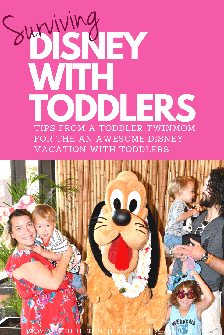 Planning a trip to Disney World with toddlers? Learn the best tips and tricks from a twinmom on how to have the best vacation in Disney World with toddlers. These are the must-do and must-know Disney hacks to survive your trip with toddlers (and/or twins). Taking a bunch of little kids to Disney might seem daunting, but it is totally doable if you follow a few key tips. Find out how we totally rocked our trip to Disney World with toddlers. #momlife #twinmom #travelwithkids #disneytips #disney