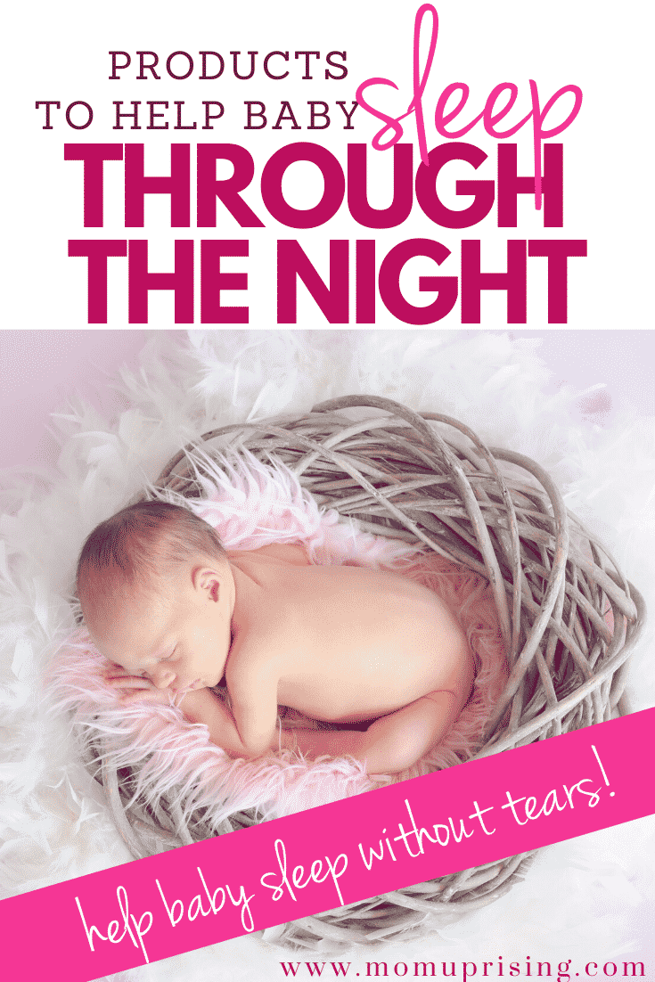 Need ideas to help baby sleep through the night? Sleep deprivation is brutal when you\'re a new mom. These products are awesome for helping baby sleep through the night without tears. That\'s right, no sleep training needed and no crying it out. Just gentle ways to help baby fall asleep and sleep for longer periods of time. #newbaby #sleeptraining #sleepthroughthenight #babysleep #momlife #motherhood