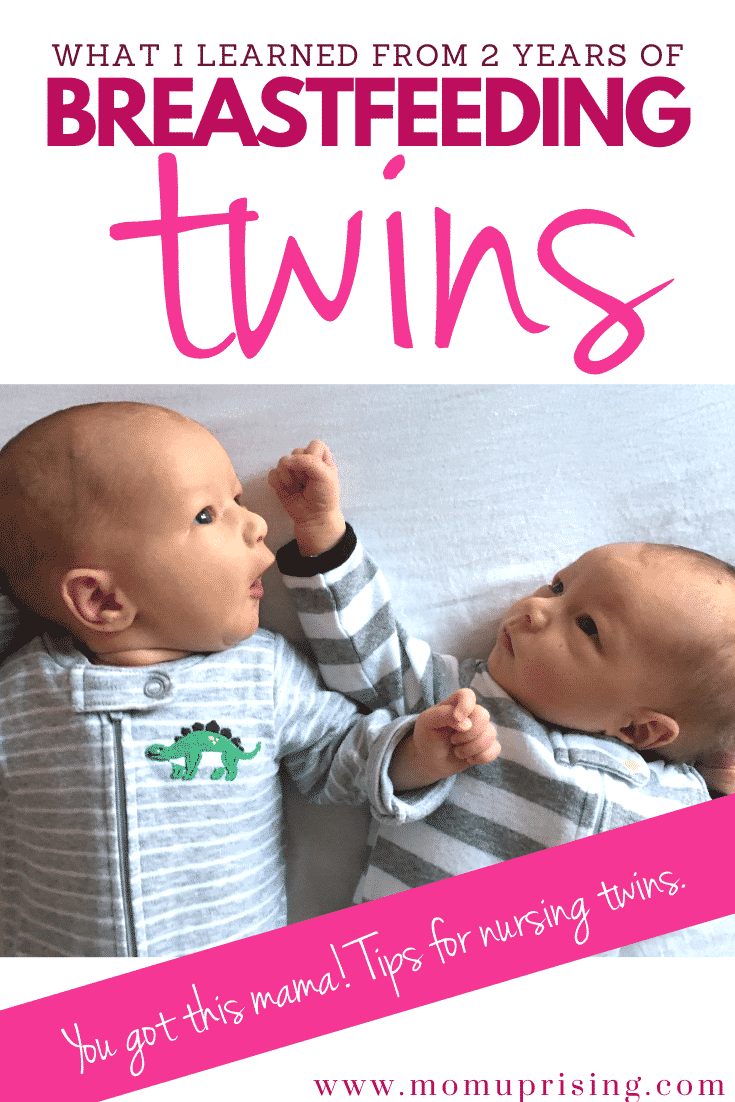 Planning on breastfeeding twins? I have now breastfed my twins for over two years! It wasn\'t always easy, but we were able to get past any hiccups along the way in our journey of extended breastfeeding and tandem breastfeeding. These are some of the post important things to know and keep in mind when planning to breastfeed with your twins. #twinmom #twinlife #breastfeeding #breastfeedingtwins #tandembreastfeeding #normalizebreastfeeding